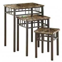 3041 Cappuccino Marble / Bronze Metal 3Pcs Nesting Tables