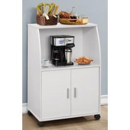"""White 33"""" Castors Kitchen Cart"""