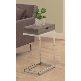 3254 Dark Taupe / Chrome Metal Accent Table