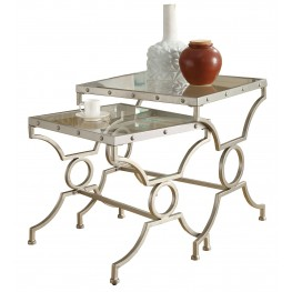 3321 Satin Silver 2Pcs Nesting Tables