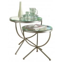3322 Satin Silver 2Pcs Nesting Tables