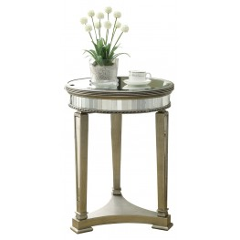 3705 Brushed Silver / Mirrored Accent Table
