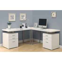 7027-3 White 3Pc L-Shaped Desk Set