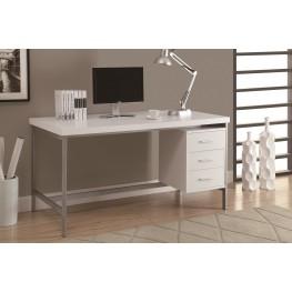 "7046 White Silver Metal 60"" Office Desk"