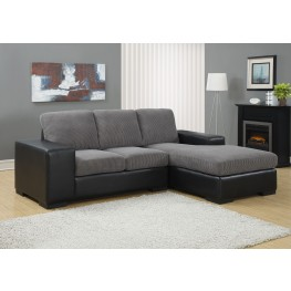 Charcoal Gray Corduroy/Black Sofa Sectional