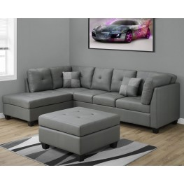 Light Gray Bonded Leather Sectional Sofa