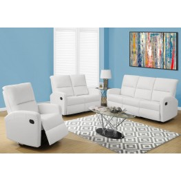 84WH-3 White Bonded Leather Reclining Living Room Set