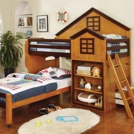 Citadel Oak and Walnut Twin Over Twin Loft Bed