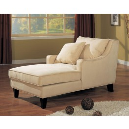Cream Microfiber Chaise Lounger - 500029