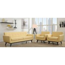 James Mustard Yellow Linen Living Room Set