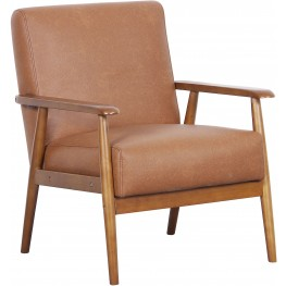 Lummus Cognac Wood Frame Upholstered Accent Chair