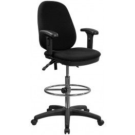 Ergonomic Black  Multi Functional Triple Paddle Drafting Stool with Adjustable Foot Ring and Arms