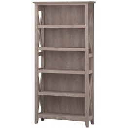 Key West Washed Gray 5 Shelf Bookcase