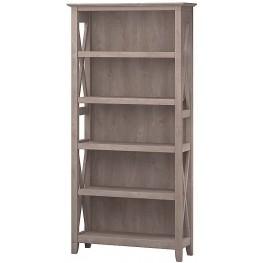 Key West Washed Gray 5 Shelf Bookcase