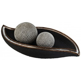 Sylvia Pearl Stone Bowl With Spheres Set of 2