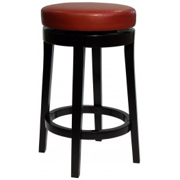 "Mbs-450 26"" Red Bonded Leather Backless Swivel Barstool"
