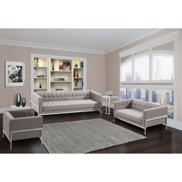 Andre Gray Tweed Living Room Set