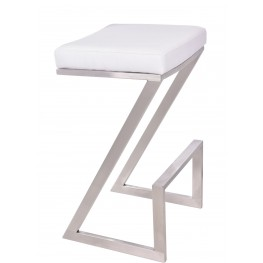 "Atlantis 26"" White Brushed Stainless Steel Backless Barstool"