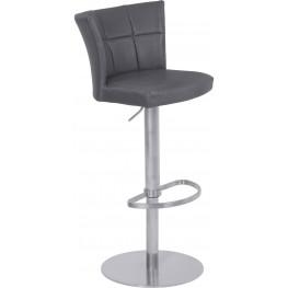 Encore Brushed Stainless Steel Adjustable Metal Barstool Set of 2