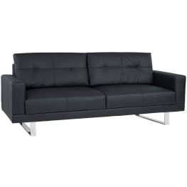 Lincoln Mid-Century Black Upholstered Futon Sofa Bed
