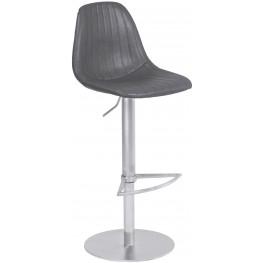 Melrose Vintage Gray Adjustable Metal Barstool With Brushed Stainless Steel Base Set of 2