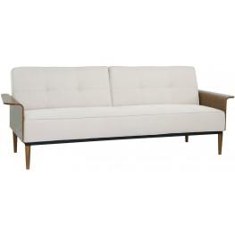 Monroe Beige Convertible Mid-Century Futon Sofa Bed