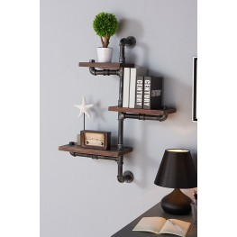 "Orton 30"" Gray Walnut Wood Floating Wall Shelf"