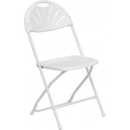 Hercules 1000 lb. Capacity White Plastic Fan Back Folding Chair