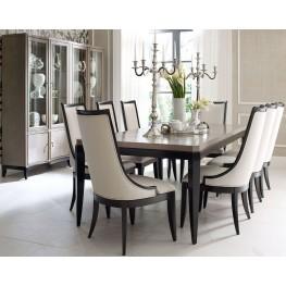 Symphony Platinum & Black Tie Extendable Rectangular Dining Room Set