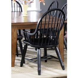 Treasures Black Bow Back Arm Chair Set of 2