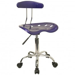 Vibrant Deep Blue and Chrome Computer Tractor Seat Task Chair