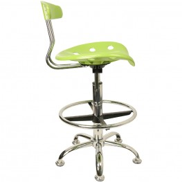 Vibrant Apple Green and Chrome Tractor Seat Drafting Stool