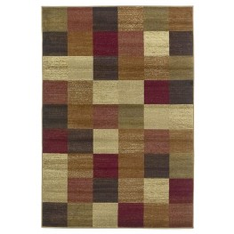 "Lifestyles Beige Squares 118"" X 94"" Rug"