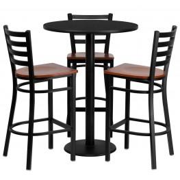 "30"" Round Black Table Set with Ladder Back Metal Bar Stool"