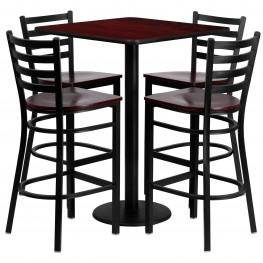"""30"""" Square Mahogany Table Set with Ladder Back Metal Mahogany Bar Stool"""