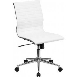 Armless White Ribbed Upholstered Conference Chair (Min Order Qty Required)