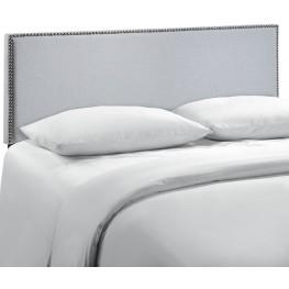 Region Gray Queen Nailhead Upholstered Headboard