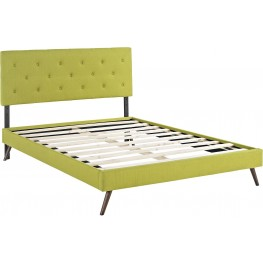 Terisa Wheatgrass Queen Upholstered Platform Bed with Round Splayed Legs
