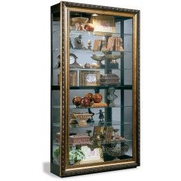 Museum Renoir Hand Decorated Burnished Gold And Ebony Curio Cabinet