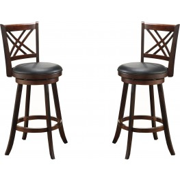 "29"" Walnut Double X Back Stool Set of 2"