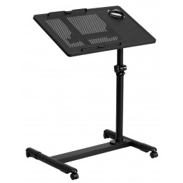 10001264 Adjustable Height Black Steel Mobile Computer Desk