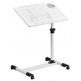 White Adjustable Height Mobile Computer Desk