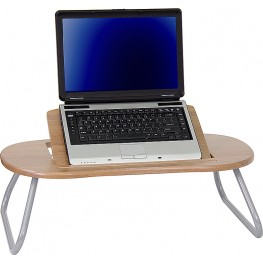 Adjustable Laptop Computer Table with Dark Natural Top