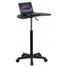 Mobile Laptop Black Computer Desk Adjustable Height