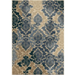 Four Seasons Indoor/Outdoor Leaves Allover Damask Multi Small Area Rug