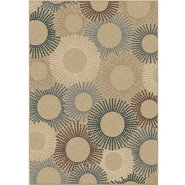 Four Seasons Indoor/Outdoor Circles Ray Of Light Beige Small Area Rug
