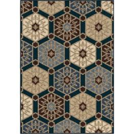 Four Seasons Indoor/Outdoor Hexagons Partha Blue Small Area Rug