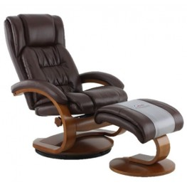 Oslo Whisky Breathable Air Leather Recliner with Ottoman
