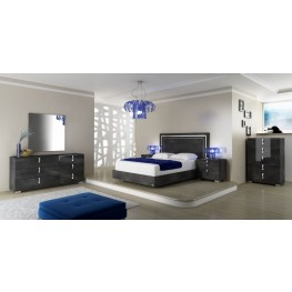 Vivente Noble Grey Birch High Gloss Platform Bedroom Set