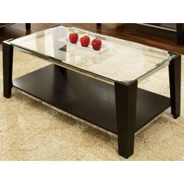 Newman Dark Espresso Glass Top Rectangular Cocktail Table